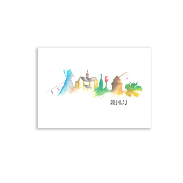 Postkarte Skyline Rheingau